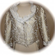 veste damassée or et blanc